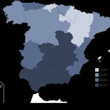 tasa desempleo por CCAA 2018
